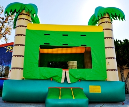 Bounce house perfect for a tropicl hawaiian or luau theme kids party